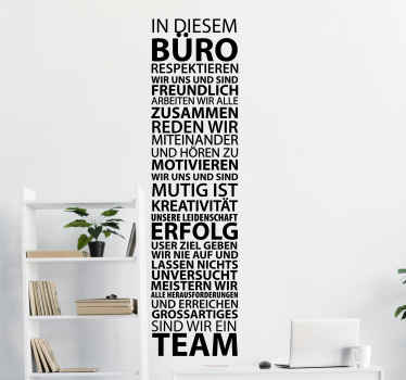 Office motivational wall sticker created in German language . We have it in different colours and size option. Easy to apply and adhesive.