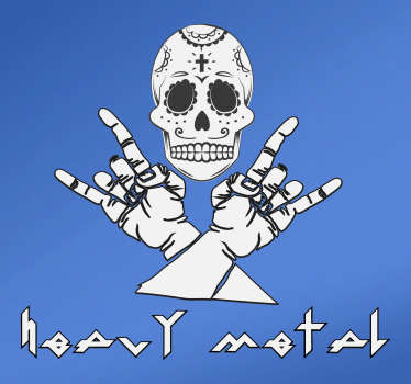 Musical theme vinyl decal designed with skull and hand sign. It is available in different size options. Adhesive and easy to apply.