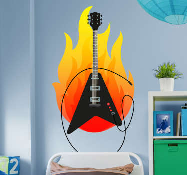 From our collection of electric guitar stickers and heavy metal stickers is this cool and creative design. The guitar decal shows an electric guitar with a flame behind it.