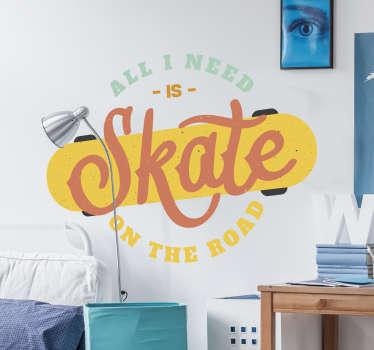 Muursticker sport Retro skateboard