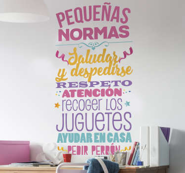 Educational wall sticker for children space decoration featured with house rule instructions. We have it in any size you want.