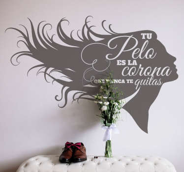 Silhouette vinyl sticker of a lady with full hair. A design for both home and hairdressing saloon space. It is available in different colour options.