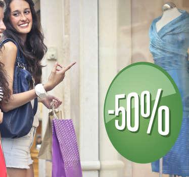 Personifierad butiksfönsterförsäljning klistermärke