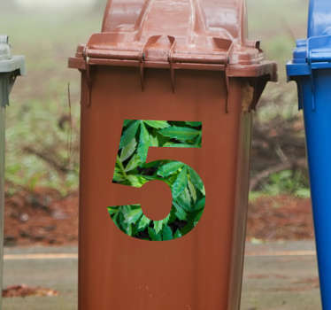 Leave textured number sticker to decorate door for house numbering and to apply on recycling containers. Easy to apply and adhesive.