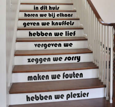 Home text decal to decorate staircases . It has different sentences for each steps and it comes in colours option to choose.