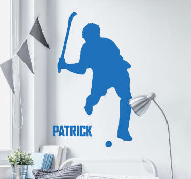 Male Hockey Player Customisable Wall Sticker