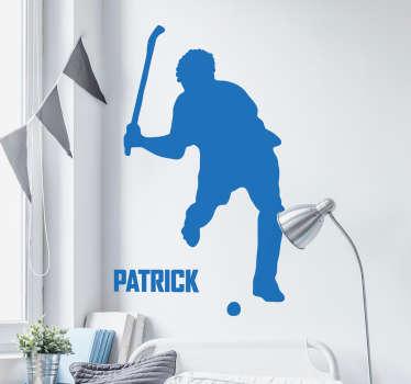 Muursticker sport Hockeyspeler gepersonaliseerd