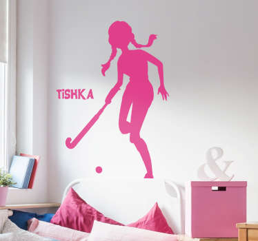 Hockey Player Customisable Wall Sticker