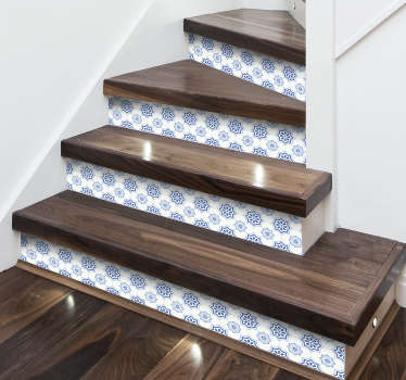 Fantastic sticker for stairs with blue and white tile pattern. Decorate your home with originality without the need to spend a lot of money.