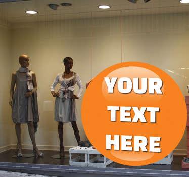 Přizpůsobitelná oranžová kulička reklamní nálepka okna