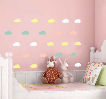 An illustrative kids wall decal with the design of printed clouds in multi colours. It is easy to apply and available in different sizes.