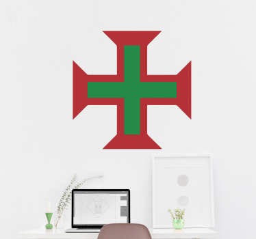 Portuguese cross wall sticker to decorate the home or any space. Buy it in the size you want. It is easy to apply and self adhesive.