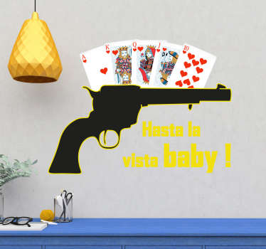 Decorative home vinyl decal with the design of a poker with pistol. It is available in any size you want. Easy to apply and adhesive.
