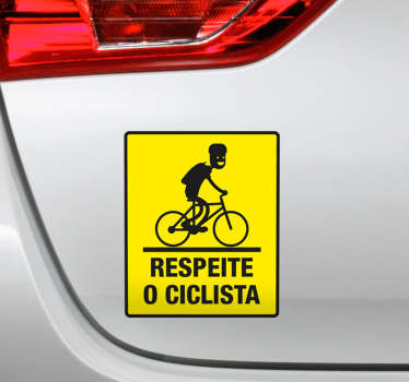 Cyclist car vinyl decal design created with the image of a cyclist riding and the text on it that says '' respect the cyclist .