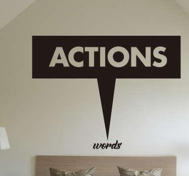 Muursticker tekst Actions words