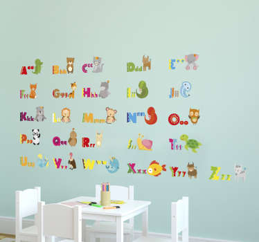 Animal Alphabet Stickers - a great educational wall sticker that allows your kids to learn the alphabet with their favourite animals!