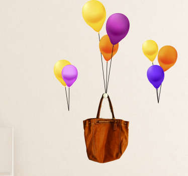 This wall sticker balloon holder will be the perfect decoration for your interior. A bag tied to many colorful balloons. Self-adhesive and durable