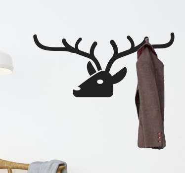 Adesivo murale testa  cervo appendiabiti