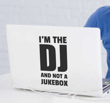 Text Aufkleber DJ Laptop