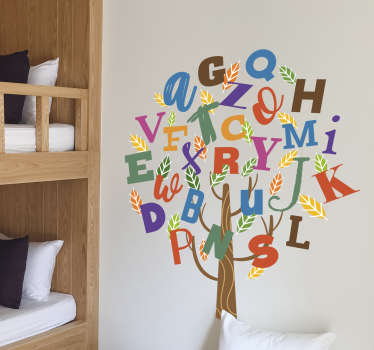 Decorate your child´s bedroom with this fantastic alphabet tree children´s wall sticker! Zero residue upon removal.