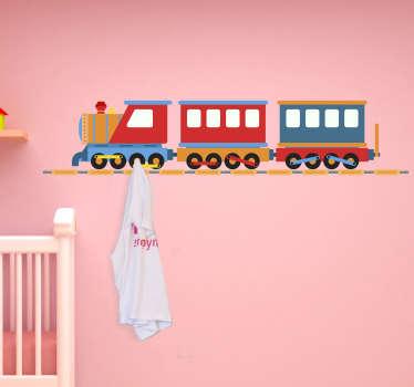 Sticker Mural Porte Manteau Rails pour Enfants