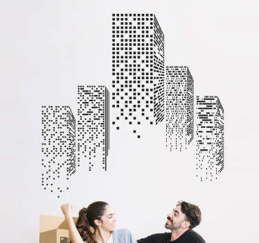 Adesivo murale effetto grattacieli 3d
