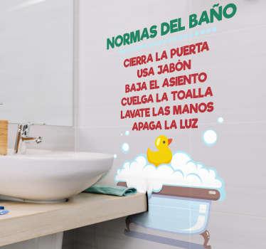 Vinilo decorativo para el baño con el detalle de las normas del baño. Las siguientes normas del baño ayudarán a mantener tu lavabo más ordenado.