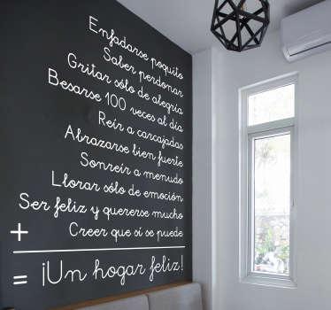 Enfadarse poco, reír a carcajadas, saber perdonar, besarse 100 vedes al día, sonreír a menudo,  etc. son las normas del vinilo decorativo para conseguir un hogar feliz.