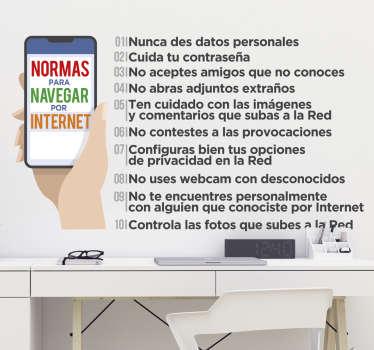 Vinilo 10 normas para navegar por internet
