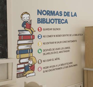 Vinilo educativo normas de la biblioteca del colegio