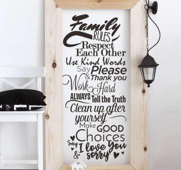 Scritta adesiva per parete regole della casa inglese