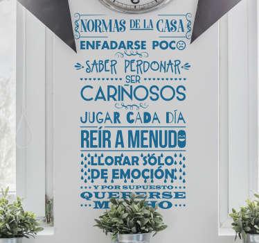 Pegatina hogar con el detalle de las normas de la casa y de buen comportamiento ideal para cualquier espacio o habitación de casa