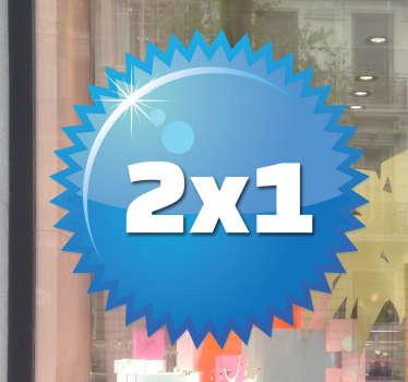 Sticker rond bleu à piques offre
