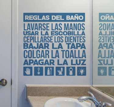 Vinilo decorativo para el hogar con las frases y normas para el baño: lavarse las manos, usar la escobilla, bajar la tapa, etc.