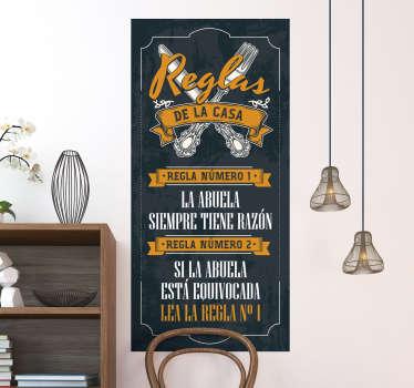 Original vinilo adhesivo en forma de cartel de las reglas de la casa de los abuelos en tonos azul y mostaza. Compra Online Segura y Garantizada.