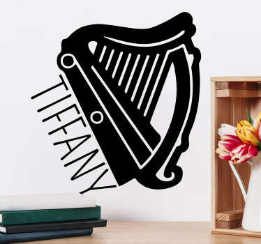 If you are a fan of the harp, then this music sticker with a customizable name is the ideal decoration for your home decor.