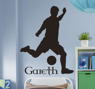 Sports Decals - A Gaelic Football Silhouette Wall Sticker that can be personalised to say the name of your child or the name of your football team.