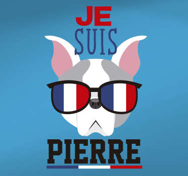 A personalisable location theme wall decal design created with the image of a dog wearing a sunshade in a french country flag design.