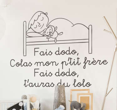 Make Dodo Colas nursery rhyme wall sticker for children room space. It has the design of a sleeping mother and child. Easy to apply and adhesive.