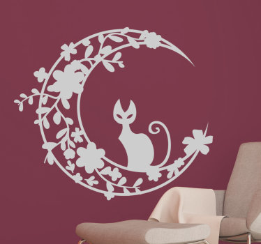 Room Stickers - illustration of a cat sitting on a half moon with floral features. Perfect decal to complement the walls of your rooms.