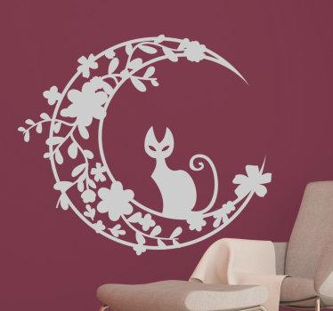 Autocolante de parede gato na lua