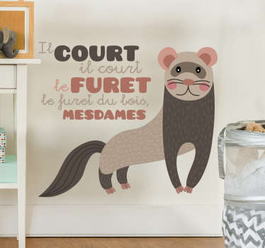 Nursery rhyme wall decal with the design of a ferret animal and rhyme for kids. Available in different size options and easy to apply.