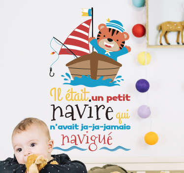 Decorative nursery rhyme wall decal design for children. It is created with the feature of a sailing  boat with song text . Easy to apply and adhesive.