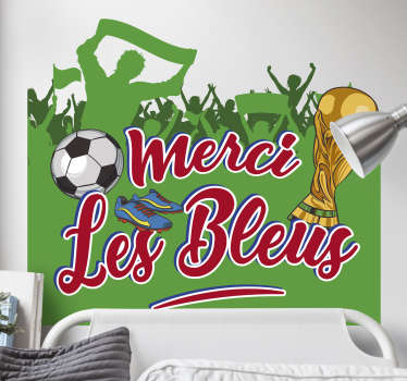Football wall art decal with the design of football fans celebrating a club. It is inscribe with text '' Thanks, the blues''.