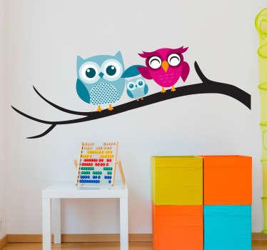 三只猫头鹰动物墙贴纸