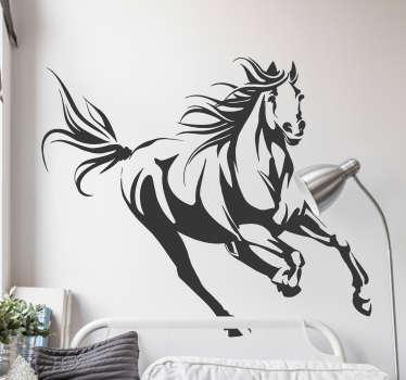 Galoppinen hevonen olohuoneen seinän sisustus