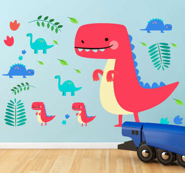 Röda dinosaurier barn vägg klistermärke