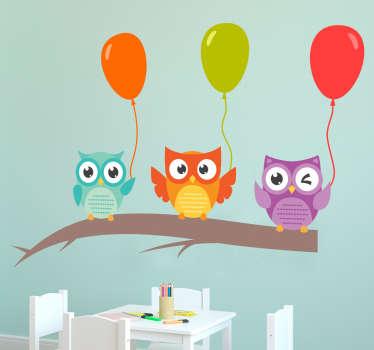 Autocolantes animais coruchas e balões