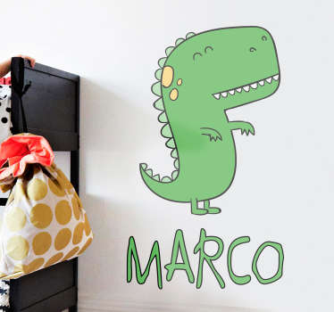 Dinosaur personifierad med namn klistermärke
