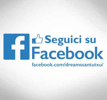 Vetrofania Seguici su Facebook personalizzabile